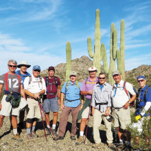 Left to right: Gary Bray, Grant Sharp, Bill Baxter, Clare Bangs, Roger Sanders, Steve Duncanson, Les Reister, Tom Wellman and Lynn Warren (photographer) along the Gadsden Trail.