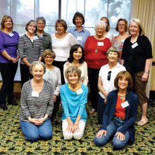 Front row from left: Instructors Johanna Kaufman, Janet Day and Marsha Lisle; second row: Mary Alice Joyce, Laurie Scott and Bette Hanson; third row: Karen Stone, Betty Tomtan, Enice Speed and Linda Schmillen; back row: Sharon Schmitz, Nan Perkins, Linda Brisnehan, Carol Ohman (face mostly blocked) and Deb Riley