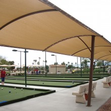 Loving the shade! As temperatures soared during the final weeks of the spring bocce ball season, participants were very grateful for the new UV protective canopies recently installed at the bocce complex at Eagle's Nest. The canopies are one of many new and upgraded amenities at the state of the art facilities.