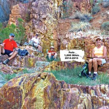 Left to right: Ed Bobigian, Bill Halte, Pete Williams and Marilyn Reynolds enjoying a leisurely lunch on the colorful rocks in Black Canyon Wash at Bumble Bee.