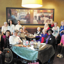 Unit 20 ladies gathered for lunch at Ruby Tuesdays; photo by Robyn D.