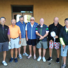 Member-Member winners flights one through four, left to right: Randy Plymell, Dan Anderson, Robert Richards, George Clark, John Krasnan, Marc Goldberg and Norm Munger; not pictured, Nick Castiglione