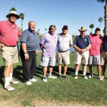 First Place Team Winners – April 28 PCM9GA Lone Ranger Tournament, left to right: Pat Sherlock, Chris Mucha, Jerry SantaLucia, Skip Butler, Gene Lindsey, Jay Fors, Dick Atwater; not in photo, Doug Schlenker