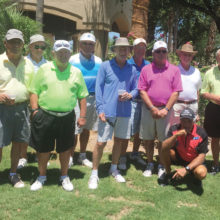 July 14 Mixer Tournament Winners, left to right: Jim Beyers, Lee McDonnell, Bill Schaefer, Ron Shrum, Jim Seth, B. Ruder, Dave Baseheart, Rene Lefebvre, Ray Measles and Stan Smith