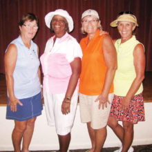 First Flight, tied for First place: Char Held, Carolyn Suttles, Chanca Morrell, Patty Brown