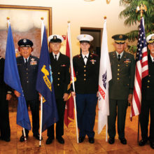 Color Guard left to right: Art Day - Coast Guard, Ron Lord - Air Force, Ken Semmler - Navy, Mary Ahrens – Marines, Gene Mahler – Army, Charlie Kice - Navy