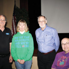 New Executive Board, left to right: Dru Bacon, new president, Judy Hart, new secretary, Robert Conley, vice president and Carl Schatz, treasurer