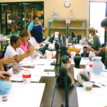 Ceramic members use various techniques, paints and glazes.