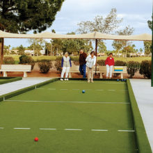 The PC Singles played Bocce Ball for fun.
