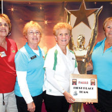 Falls First Place — Cheryl Peterson (Sun City Grand), Donna Frole, Jean Stephenson (Palo Verde), Pat Hallacy