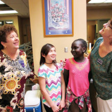 Sandy Blackburn and Dianne Baczynski enjoy spending time with two of our campers.