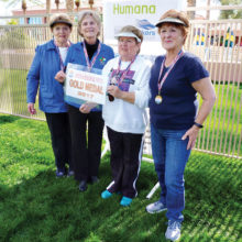 """Gold Medal Winners in the Women's Division are """"Bocce Ladies"""" Jan Ruedlin, Muriel Milewski, Carol Gwilt and Faye Ralph."""