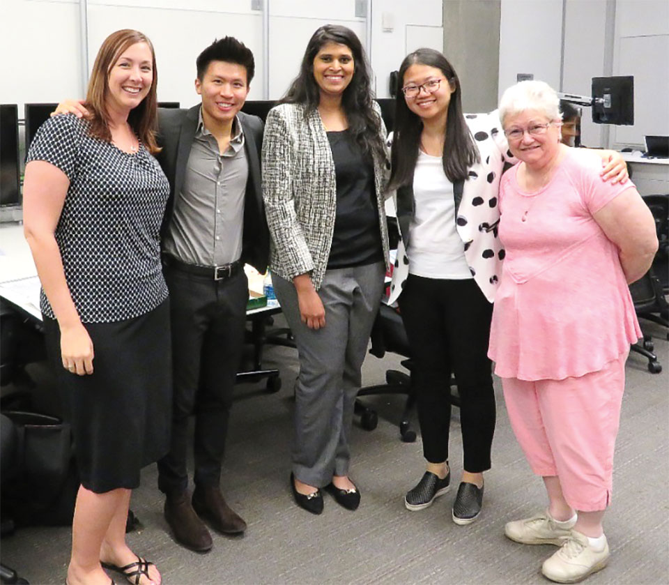 Left to right: Leanne Leonard, Trey Tan, Monisa Manju Nagarajan Gomathi, Xiao Xiao Lyu and Edna DeFord