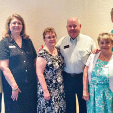 Linda Wolverton, Barbara Cahall, Sandy and Bob Burris and Gloria and Frank Glowinski; Linda Purdue not pictured.