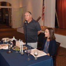 David and Sandy Mednick conducted the service during the Passover Seder; photo by Allen Levine.