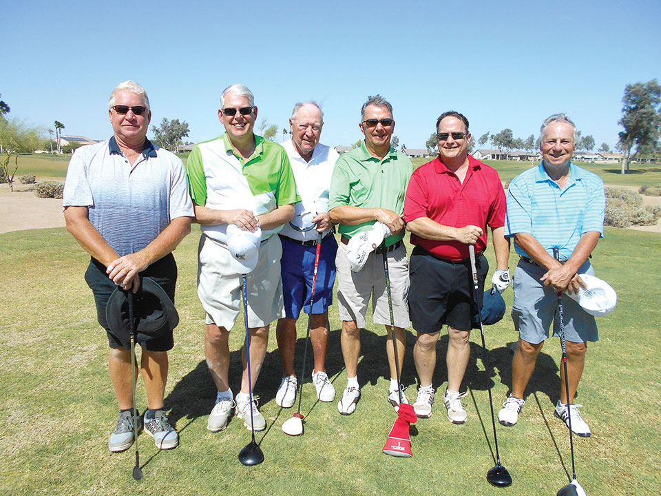 Flight B Group Winners, left to right: Cort Wyss and Larry Mickelson, Jim Anspaugh and Ron Eppley and Richard Bean and Bill Armstrong