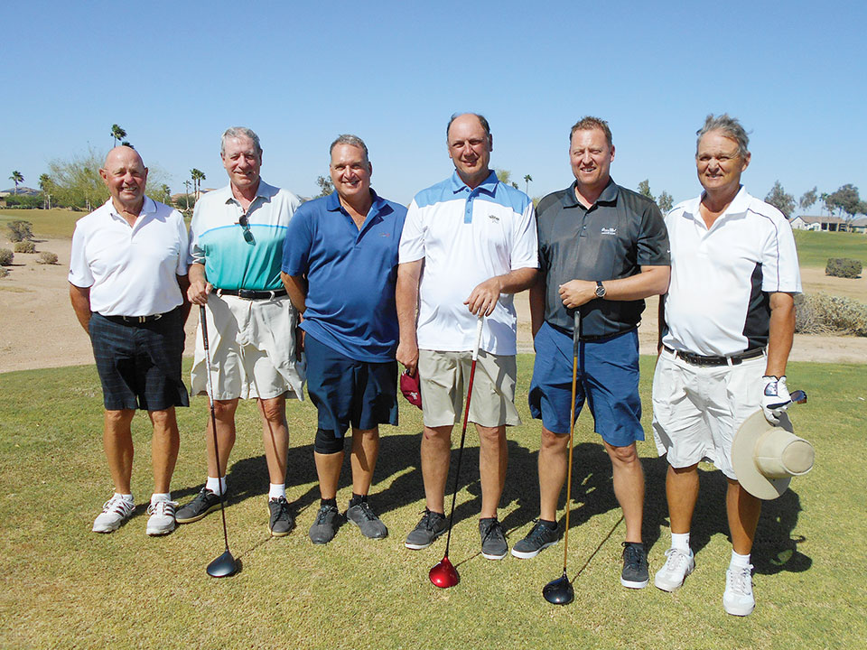 Flight C Group Winners, left to right: Chuck (Gus) Gustafson and Peter Atkins, Mike Molinari and Richard Kennedy and Scott Brunt and Bill Anderson