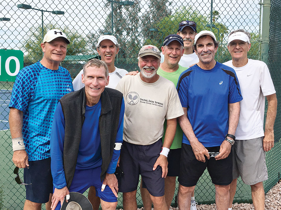 Congratulations go out to our PebbleCreek Hotshots! The PebbleCreek Hot Shots 4.0 men's senior valley team beat Trilogy eight sets to one for the championship on March 20, 2017. Left to right: Craig Hauger, Dan Schimmelpfennig, Dave Bee, Dave Henry, Dave Kersey, Jim Lewis, Marty Farrell and Randy Planck; not pictured, Richard Margison