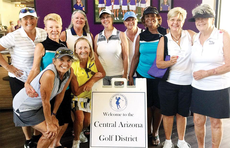 Back, left to right: Ellen Enright, Jane Hee, Carol Sanders, Ann Page, Donnie Meyers, Carolyn Suttles, Arlene Engelbert and Nan Perkins; front: Marilyn Reynolds and Linda Thompson