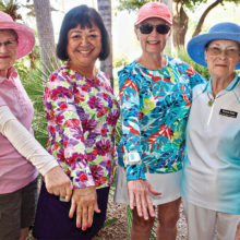 PCL9GA members Wendy Wisser, Patti Halbmaier, Kathy Vienna and Yvonne Harm show off their sun protective shirts and sleeves.