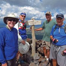 Left to right: Dana Thomas, Lynn Warren, Clare Bangs and Ed Bobigian catch their breath on the 12,633 foot summit of Humphrey's Peak.