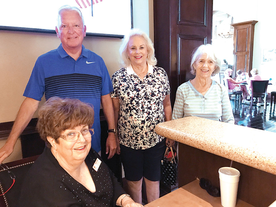 Members of the PebbleCreek Bocce Association Board of Directors gather at the kiosk at Eagle's Nest on September 6, the final day of Fall Season registration. Left to right are Treasurer Mollie McErlean, Vice President Bob Labenz, President Cheryl Kasselmann and Secretary Gail Davidson. Not pictured are Statistician Carol Gwilt and Publicity Director Pat Milich.