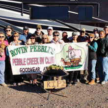 Attending this year's caravan from left to right were Kathryn Sarter (Wagon Master), Lou and Carolyn Sue DeCarolis, Ted Blaine (Co-Wagon Master), Betty East, Richard Anderson, Virginia Mouw, Terry and Juli Thornton, Jim East, Debbie Blaine (Co-Wagon Master), Phil Batton, Pam Loo (2019 Club President), Marion Hanson Kaucheck, D.K. Loo and David Kaucheck.