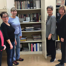 Linda Labenz (third from the right) with Sharon Pucelik, Mary Sabatello, Mary Hill, Lia McCromick and Karri Heywood-Smith. She is showing them the many printed resources available to all members which includes many books, magazines, informative material and patterns that may be checked out.