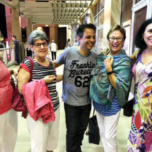 PebbleCreek Singles Club member Leticia (Tish) Johnson stole the show when she began bantering back and forth with comedian Johnny Sanchez during the club's recent visit to Stir Crazy Comedy Club at Westgate Entertainment Center in Glendale. The comedian met up with Tish and a few members of the club after the show. From left to right are Audrey Knudten, Rhissa Pontrelli, Johnny and Tish Johnson and Elisabeth James.