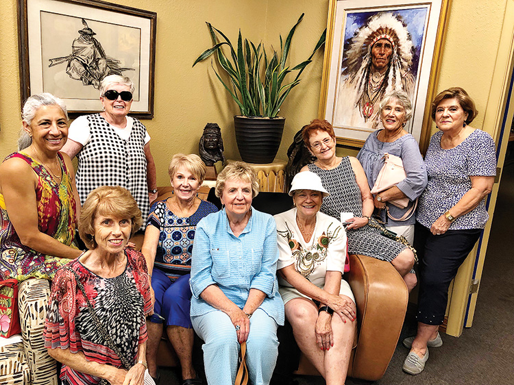 The Singles Club recently sponsored a trip to the Eddie Basha Art Gallery in Chandler, where more than 3,000 pieces of western American and American Indian art are displayed. Pictured are Yolany Marsan, MJ Smyrl, Pat Moore, President Judy Maloney, Carol Brahm, Lynne Ackerman, Gladys Mabey, June Roznik and Audrey Knudten.
