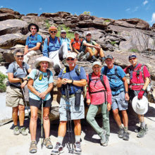 "Lower row (left-right): Diana, Eileen, Dave, Marilyn, Clare and Lynn (photographer); Upper row: Wayne, Pete (Hike Leader), Ruth, Ed and ""Ausy"""