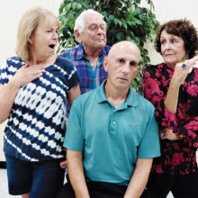 There is more than just food heating up in the PC Players comedy, The Kitchen Witches. The cast from left to right: Sue Tearpak, John Gimon, Mike Schwartz, and Judi Blankenship.