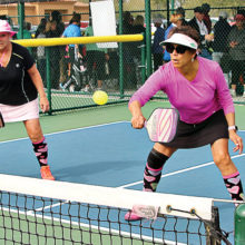 Becky Cox and Sonja Drinkwater control the net. Photo by Dannie Cortez.
