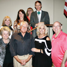 Front row (left to right): Wally Campbell, Goodyear City Council; Larry Schweikart, author and main speaker; Bari Cavallo, PCRC president; Doug Krause, PCRC treasurer; Back row: Laura Kaino, Goodyear City Council; Joanne Osborne, Arizona state representative; Mary McMahon, PCRC social chairman; and David Osterfeld, justice of the peace for White Tank Precinct.