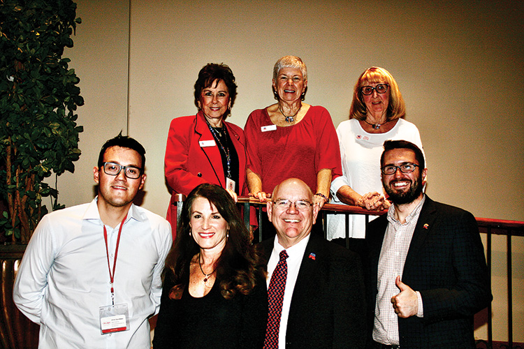 Front row, left to right: Chris Escobedo - LD-4 & LD-13 Republican field organizer; Joanne Osborne - AZ State LD-13 representative; Doug Krause - PCRC 2020-21 president; and Drew Sexton - speaker, state director for the Trump Victory Campaign Back row, left to right: Muriel Long - PCRC 2020-2021 secretary; Sue Harrison - PCRC 2020-21 vice president; and Mary Mc Mahon - PCRC social chairman