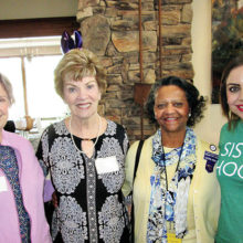 Three Chapter P members with our speaker from Girl Scouts of America