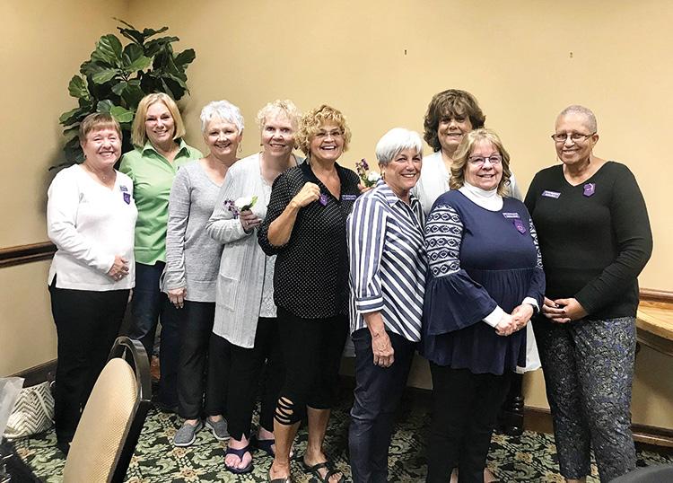 (Left to right): Ellen Stergulz, vice-president; Hilary Coltman, treasurer; Trudy Johnson, member; Nancy Burton, new member; Linda Tews, new member; Georgie Wood, corresponding secretary; Clarisa Harper, new member; Kathy Smith, new member; Cynthia Bush, president
