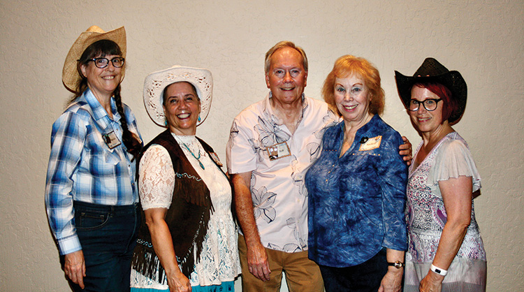 Fun Line Dance team (left to right): Marian Long, Kathy Fredo, Bob Bowman, Rochelle Thurm, and Karen Mack; (not pictured): Sissy Hungerford (Photo by Marian Long)