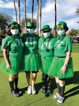The four gals that won women's best Wearin' o' the Green: Dotty Thomas, Marty Kirkman, Kathi Catalano, and Peggy Steffan