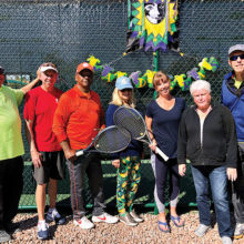 (Left to right): Steve Farley, Dennis Whitley (PC Tennis Club president), Ackie Jackson, Betsy Porter, Joan Patchin (PC Tennis Club social director), Barbara Farley, and Fred Carlson