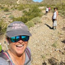 Ellen Enright, Lynn Banks, Karen Kattar, and Karen Weldon hiking at Skyline Regional Park