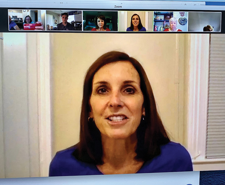 United States Senator Martha McSally, hosting a Zoom meeting with members of the PC Republican Club.