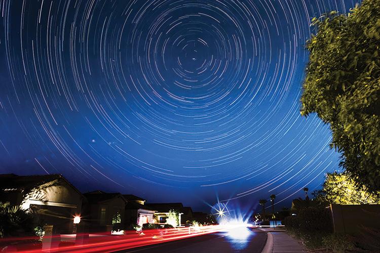 Impressive Star Trail photo taken from the comfort of PebbleCreek by Camera Club member Gene Fioretti.