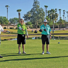 PCM9GA golfers (left to right): Dave Wattenberg, Bob Geiges, Ted Wallenbeck, and Jim Tackett social distance for pandemic golf.