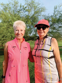 (Left to right) Cindy Tollefson and Jeannie Alvarez, winners again, win 1st in Flight C.