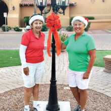 Co-chairs Sue White and Lynn Grice for the Red and Green Tournament!