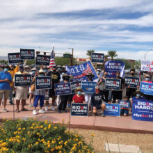 Members of the PebbleCreek Democratic Club at the corner of McDowell and PebbleCreek Parkway after waving campaign signs.