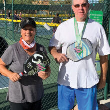 Gold Medalists 4.5 Skill Level, Age 50+, Andrea Dilger and Steve Manns