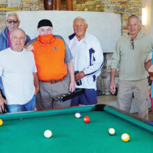 Billiard Club members Gino, Rene, Blair, Brian, Marv, and Lynn posing after a successful 8-ball rematch at Vistancia on Nov. 12.
