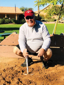 Mike Mondzak celebrates his first ringer Dec. 1. Horseshoe enthusiasts of all abilities are welcome to play Tuesdays at 9:30 a.m. at PebbleCreek's Sunrise Park.